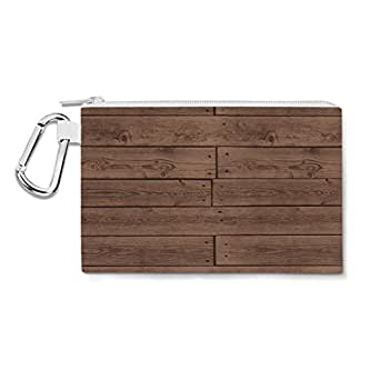 Reclaimed Floorboards Wood Pattern Canvas Zip Pouch - 2XL Canvas Pouch 13x10 inch - Multi Purpose Pencil Case Bag