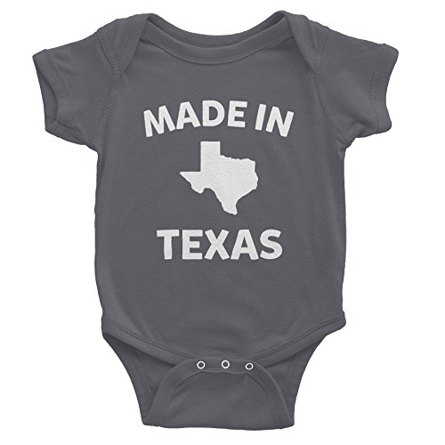 Made In Texas - 002 - Funny Texas Baby Infant Onesie One Piece - Charcoal (In Texas Onesie Baby Made)