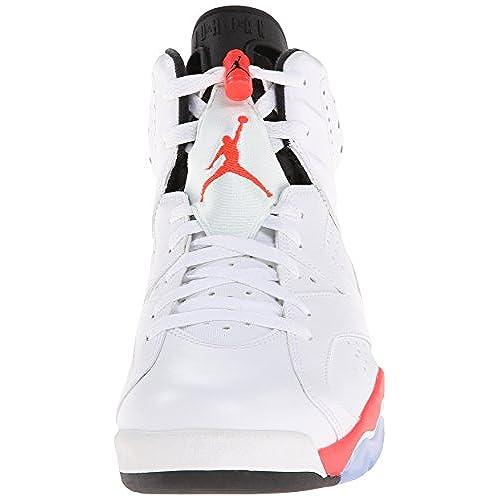 online retailer 506e9 fa2ec low-cost Nike Mens Air Jordan 6 Retro White Infrared-Black Leather  Basketball