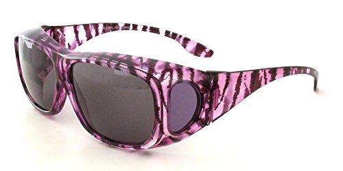 Calabria 43199 Polarized Over Sunglasses in Clear-Purple-Zebra & Grey Lens