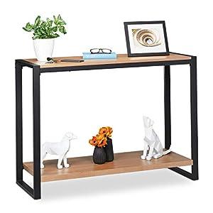 Relaxdays Table de Console, Meuble d'appoint avec 2 Surfaces, Salon, Cuisine & Couloir, HLP 80 x 110 x 40 cm, Brun/Noir…