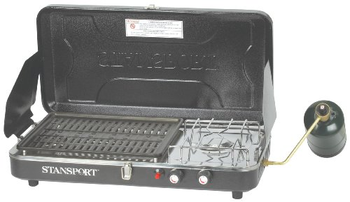 - Stansport High Output 10,000 BTU Propane Stove and Grill Combo with Piezo Igniter, Black