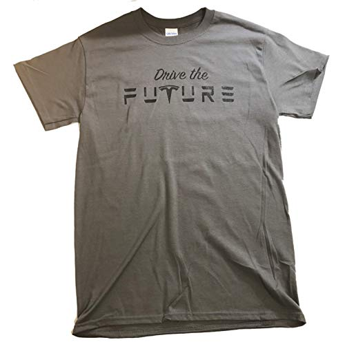 GIFT4000 Drive The Future Tesla T Shirt with Logo Color Options (Small, Grey/Black)