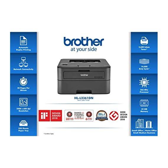 Brother HL-L2361DN Monochrome Laser Printer with Auto Duplex Printing & Network