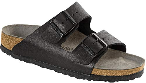 Birkenstock Women's Arizona Sandal Washed Metallic Antique Black Leather Size 37 N ()