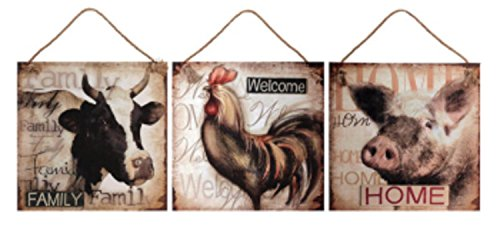 (Set of 3 Country Rustic Pig, Cow and Rooser Wall Art Canvases 17.5