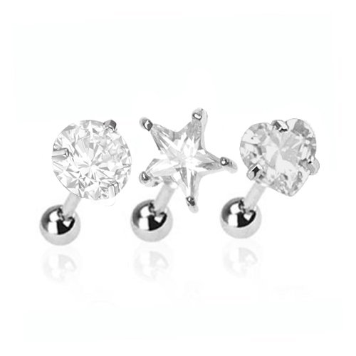 BodyJ4You Tragus Earring Stud Crystal Heart, Star and Round Stainless Steel (Star Ferido Crystal)