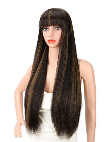 Kalyss 28 inches Women's Long Silky Straight Black Brown Highlights Heat Resistant Smooth Yaki Synthetic Wig With Bangs Hair Replacement Wig for Women (Black with light brown highlights)