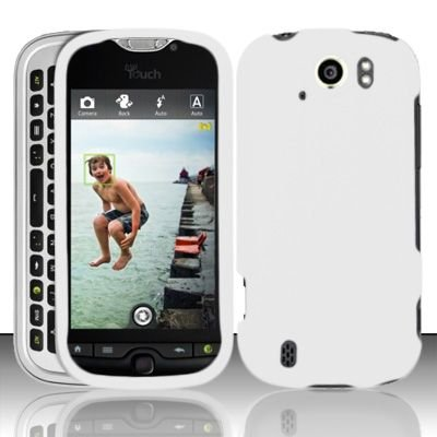 White Rubberized Snap on Protective Cover Case for HTC myTouch Slide 4G + Microfiber Pouch Bag by Charter Inc (Image #2)