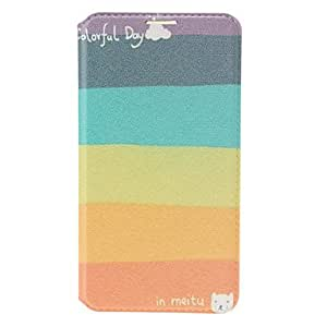 Raya del arco iris del cuero del patrón de la tarjeta de crédito de la ranura y soporte para Samsung Galaxy Note N9000 3