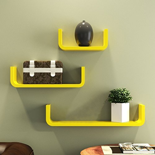 BM WOOD FURNITURE Wooden Wall Shelves   Wall Shelf for Living and Bedroom Decor   U Shape Curve   Set of 3   Yellow