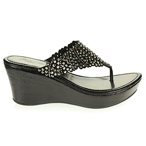 Diamante Crystal Open Womens Black Sandal AARZ Lightweight Wedge Size Toe Slip Shoes LONDON Casual Ladies On Heel Comfort Low w5tX5UIq