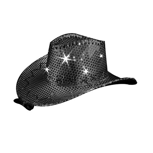 blinkee LED Sequin Cowboy Hat with Fancy Stitching Black by