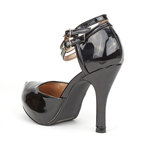 Dream Pairs Office-02 Mujeres Classy Mary Jane Correa De Tobillo Doble Almond Toe High Heel Pumps Nuevo Office-02-black-pat
