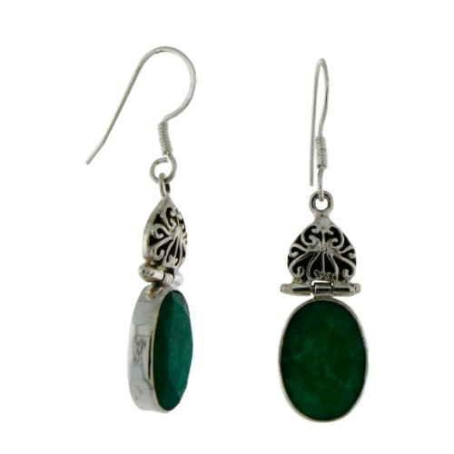 Sterling Silver Dyed Beryl, Emerald Color Earrings