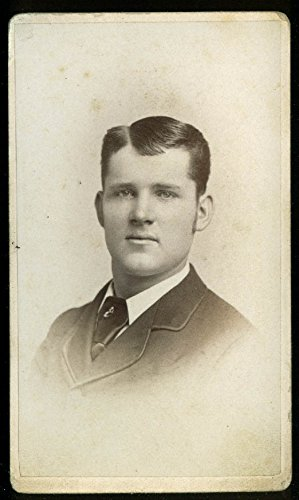 Hugh Crombie clean-shaven man tie-pin CDV R S De Lamater Hartford CT (Hartford Tie)