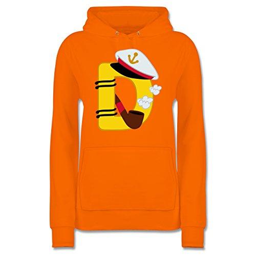 Anfangsbuchstaben - D Schifffahrt - Damen Hoodie Orange