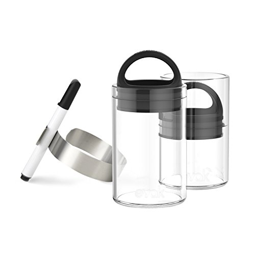 SET OF 2 EVAK MINI with ID CLIPS- Best PREMIUM Airtight Storage Container for Coffee Beans, Tea and Dry Goods - Innovation that Works by Prepara, Glass and Stainless,Compact Handle (Black Rubber)