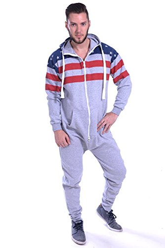 (Newfacelook Mens Stylish Printed Onesie Hoody All In One Zip Hoodie Men Jumpsuit)