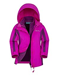 Mountain Warehouse Lightning 3 in 1 Kids Waterproof Jacket - Taped Seams Detachable Inner Fleece & Detachable Hood, Storm Flap, Two Zipped Front Pockets Bright Pink 9-10 years
