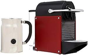 Nespresso A+D60-US-DR-NE Pixie Espresso Maker with Aeroccino Plus Milk Frother, Dark Red