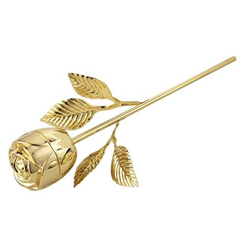 Elegance Rose Ring Holder with Long Stem, - Gold Pillow Ring