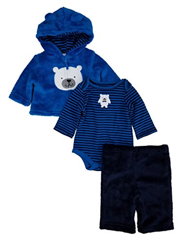 (Infant Boys Blue Fleece Polar Bear Hoodie Pants & Bodysuit Set Newborn )