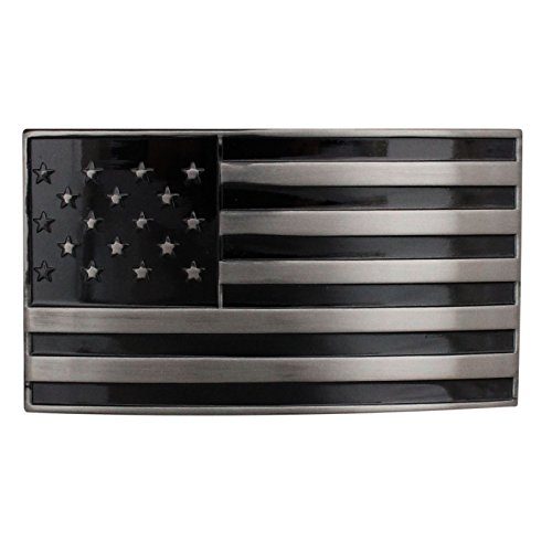 FL102 Men's Enamel Gun Metal American Flag Dark Side Plaque Buckle fits 1.33