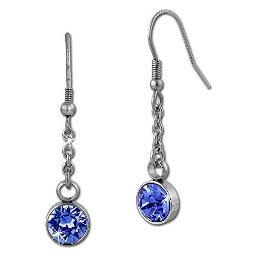 Amello bijoux en acier inoxydable - Amello boucles d'oreilles en acier inoxydable -pendants d'oreilles ronde avec Swarovski Elements bleu - ESOS06B