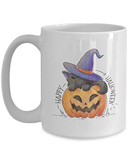Happy Halloween Pumpkin Cat Mug - Unique Idea For Cat Lover or Owner ()
