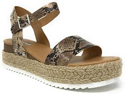 8f39583b4a57 Womens Casual Espadrilles Trim Rubber Sole Flatform Studded Wedge Buckle Ankle  Strap Open Toe Sandals