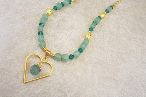 (Green Aventurine Chunk Heart with Crystal Handmade Necklace Set, Lucky Talisman)