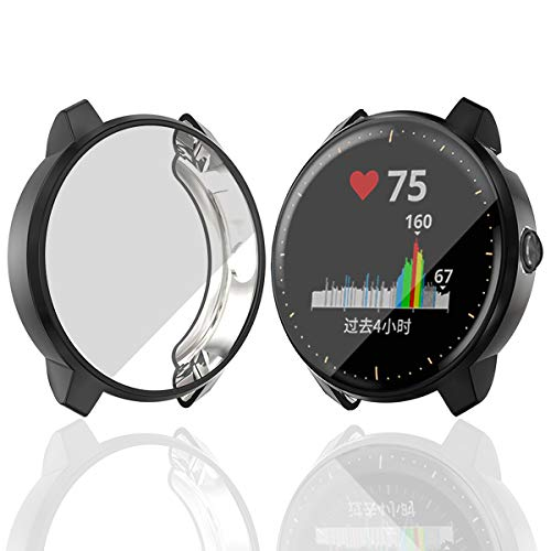 Haojavo Compatible with Garmin Vivoactive 3 [Music] Screen Protector Case, Soft Plated TPU Scratch-Proof Full Protective Protector Cover for Garmin Vivoactive 3 Music Smartwatch Accessories Black