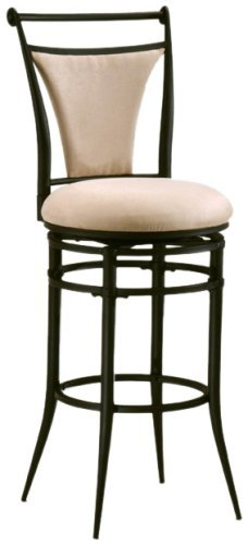 Hillsdale Cierra 30-Inch Swivel Bar Stool, Black Finish with Fawn Faux-Suede Fabric