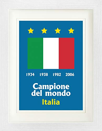 Cup Champions World Italy - Football Framed Collector Poster - Italy World Cup Champion 1934 1938 1982 2006 (16 x 12 inches)