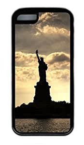 iPhone 5C Case, Personalized Protective Rubber Soft TPU Black Edge Case for iphone 5C - Statue Of Liberty Cover