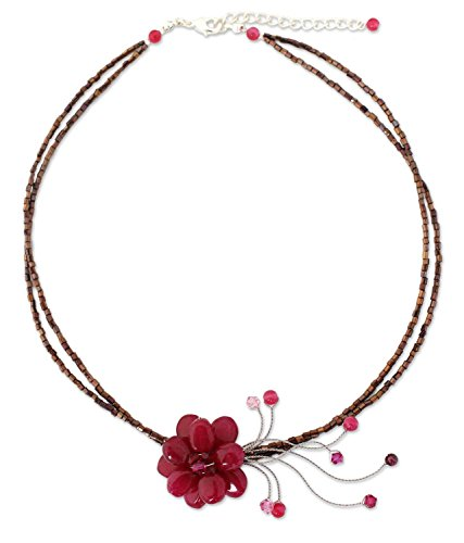 NOVICA Multi-Gem Quartz Stainless Steel Beaded Necklace, 16.25