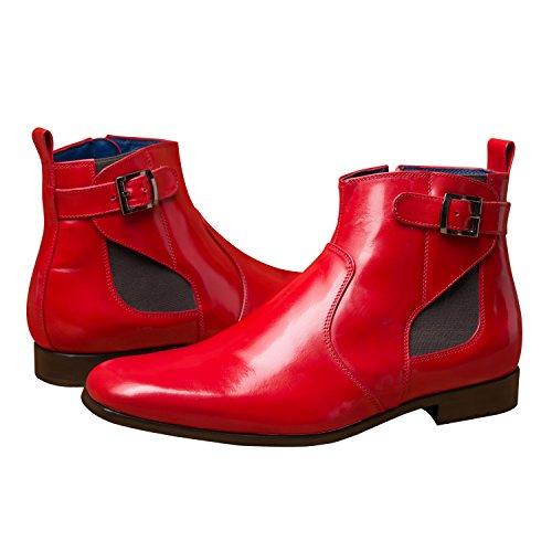 Itailor Mens Handgjorda Stövlar: Fire Red Jodhpurs Brand Röd
