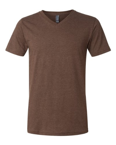 (Canvas for Men's Delancey V-Neck T-Shirt, HEATHER BROWN, Small)