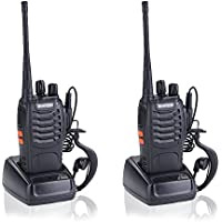 Treemoo Two-Way Radio BF 888s Walkie Talkie Long Range Built-In LED Flashlight Li-ion Battery with Headphone Microphone(Pack of 2)