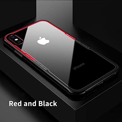 LENALE John_Kendy - Carcasa de Vidrio para iPhone XS XS MAX XR X S R 10 8 7 Plus, Color Transparente, For iPhone X, Rojo y...