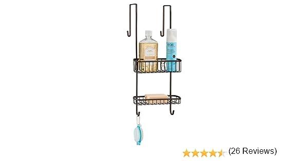mDesign Estantería de ducha para colgar sobre la mampara ...