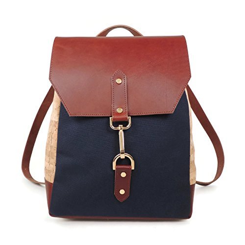 Cork, Navy Canvas, and Brown Leather Backpack by Spicer Bags by SPICER BAGS