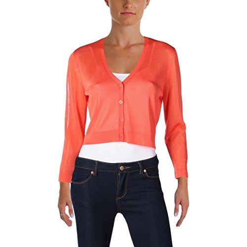 Lauren Ralph Lauren Womens Knit Crop Cardigan Sweater Orange L