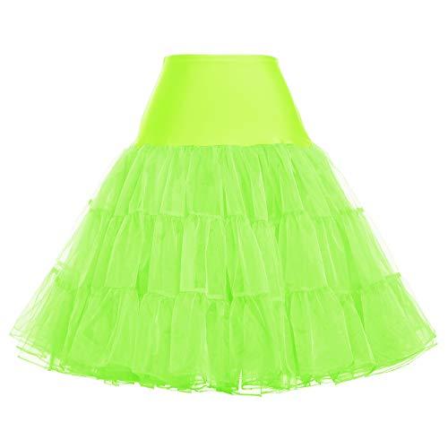GRACE KARIN Women 50s Petticoat Skirts Tutu Crinoline Underskirt Bright Green]()