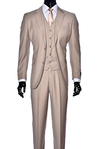 King Formal Wear Elegant Men's Modern Fit Three Piece and Two Piece Two Button Suits - Many Colors (38 Short, 100% Wool (Tan Italian Suit)