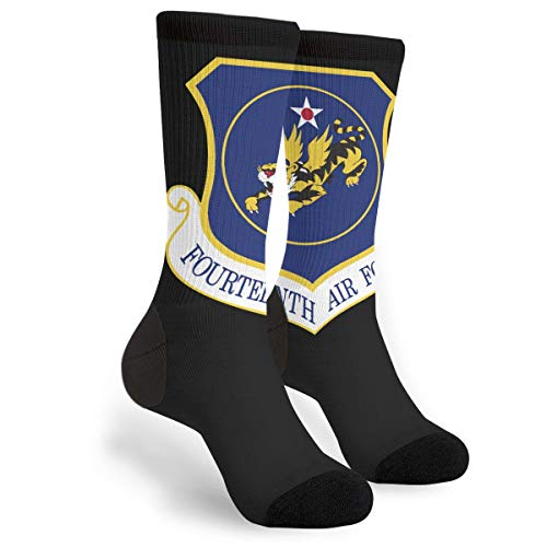 - NGFF US Fourteenth Air Force Insignia Men Women Casual Crazy Funny Athletic Fancy Novelty Graphic Crew Tube Socks Moisture Wicking Gift