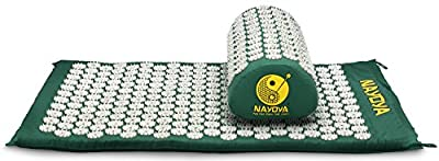 Nayoya Back and Neck Pain Relief - Acupressure Mat and Pillow Set - Relieves Stress, Back, Neck, and Sciatic Pain - Comes with a Vinyl Carry Bag for Storage and Travel - As Seen in USA Today