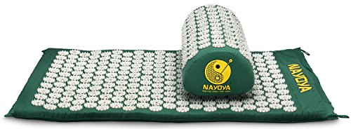 Nayoya Back and Neck Pain Relief - Acupressure Mat and Pillow Set - Relieves Stress, Back, Neck, and Sciatic Pain - Comes in a Carry Case for Storage and Travel - As Seen in USA Today (Best Medicine For Stiff Neck)