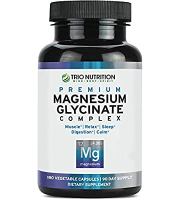 Magnesium Glycinate Complex - Powerfully Chelated with Added Vitamin B6 for Rapid Absorption - for Calm, Sleep, Muscle, Bone Relaxation Revitalization & Recovery – Vegetarian Capsule, 100% Daily Value